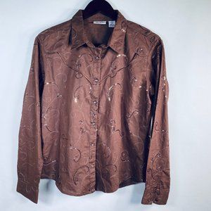 Wrangler Pearl Snap Brown Sequined Western Shirt